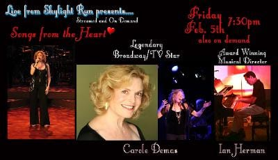 """Fri., 2/5 @ 7:30 pm Carole Demas in """"Songs from the Heart"""""""